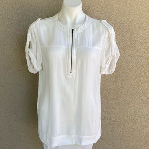 Off White Zipper Detail Tunic Blouse 3/4 Sleeves